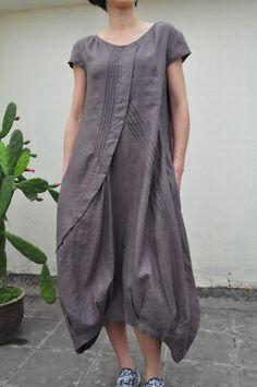 Flowers' Language/Pleated Asymmetrical linen long dress/15 colors/ custom made. $69.00, via Etsy.
