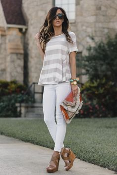 COGNAC WEDGES and an anthro top