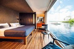 The Aria Amazon features new exterior woodwork, painting and awnings, and the vessel's spacious suites include new furniture, new wall treatments (wood veneer) and new vanities with larger mirrors and lights. #Aria Amazon #Upgrade