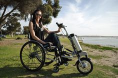 Firefly Electric Handcycle  transforms your chair to a handcycle. It uses many of the standard bicycle parts.