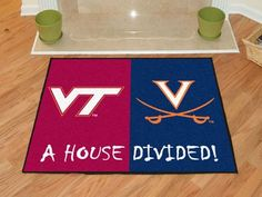 Keep this Virginia Tech / Virginia House Divided Rug by Fanmats in your home to let your loved ones and guest know your team is not to be reckoned with! All Colleges, Virginia Tech Hokies, Rugs And Mats, Star Wars, Nylon Carpet, House Divided, Virginia Homes, Time Shop, Used Vinyl