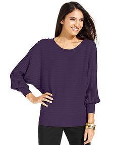 Alfani Sweater, Long-Sleeve Dolman Ribbed - Womens Sweaters - Macy's $45.00