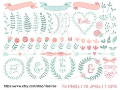 Big set 70 floral laurel wreath clip art, vintage roses, hand-drawn pastel banner digital clipart, scrapbooking mega pack, vector, download
