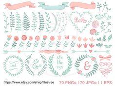 Big set 70 floral laurel wreath clip art, vintage roses, hand-drawn pastel banner digital clipart, scrapbooking mega pack, vector, download
