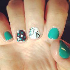Nails shellac gelish gel nails nails art paisley teal grey white polka dot