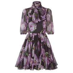 Dolce & Gabbana Tulip Print Silk Dress (12.045 BRL) ❤ liked on Polyvore featuring dresses, tulip dress, silk neck ties, purple necktie, tie neck dress and neck ties