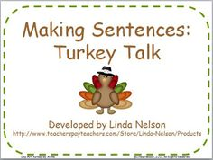 Classroom Freebies: Thanksgiving Pocket Chart Activity