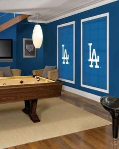 im not to fond of the dodgers theme but i like the idea of the big framed squares on the wall