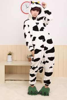 Home Little Girls Boys Animal Cow Pajama Cute Cartoon Cosplay Costume Short Sleeve Child Festival Party Stage Show Suit Fantasy Fancy Buy One Get One Free