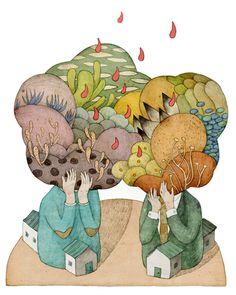 editorial illustrations 2013 on Behance, Whooli Chen