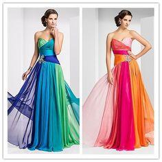 2013 nueva llegada formal de fiesta de colores vestido sin tirantes con cuentas a largo azul verde vestidodenoche