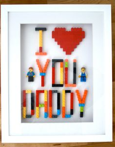 Perfect For Mother's Day Personalised Lego Gift for Mum or Dad - handmade lego art in box frame with personalised minifigures by NotinmyhouseUK on Etsy