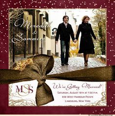 This modern square photo wedding invitation features you and your beloved with your image, custom colors & personalized text. Adapt the wording to suit any of your engagement or wedding needs...
