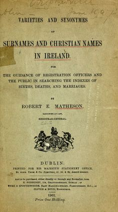 Varieties and synonyms of surnames and Christian names in Ireland - Numerical strength, derivation, ethnology and distribution based on BMD's in Ireland 1890 share from http://www.cigo.ie/