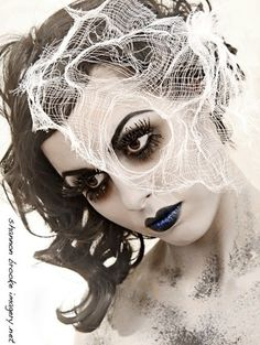 Halloween Makeup ~ Spider Woman. Want to be a Spider? Use this makeup, black wig with white spider webbing, long sleeved black dress (or short dress with long black gloves) , black nylons and either black high heels or boots (thigh or knee high or even ankle ones are cute!), AWESOME!!