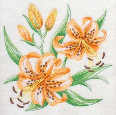 New today, a lovely selection of 24 different floral sketches in machine embroidery of many popular flowers. Here showing the Tiger Lily as it is the one in bloom in my area currently.Machine Embroidery Designs at Embroidery Library! - New This Week Learn Embroidery, Embroidery Stitches, Embroidery Patterns, Hand Embroidery, Popular Flowers, Cross Stitch Fabric, Brazilian Embroidery, Janome, Free Machine Embroidery Designs