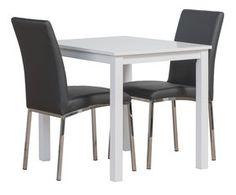 Block-sarjan tuoli on valmistettu tukevasta kromatusta teräsrungosta ja päällinen on pehmeää, helposti puhdistettavaa keinonahkaa.  Katso väri- ja materiaalivaihtoehdot alasvetovalikoista. Dining Chairs, Table, Anna, Furniture, Home Decor, Decoration Home, Room Decor, Dining Chair, Tables