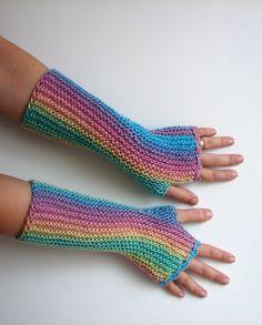 Fingerless gloves candied shades texting gloves by TinyOrchids, knit fingerless mittens in pastel rainbow garter stitch