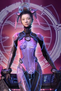 # cyberpunk, robot girl, cyborg, futuristic, android, sci-fi, science fiction, cyber girl, digital art