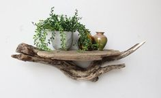 Driftwood Shelf - two different pieces stacked on top of each other. Easy to hang with teeth hooks at two points on the back. Makes a perfect mantle or entryway decor.
