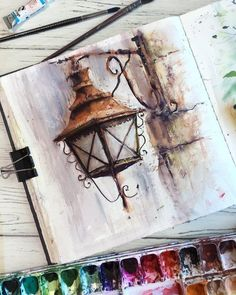 Street Lamp. Street Lamps Oil Lamps and Candle Light Lamps Watercolors. By Alena Ponkratova.