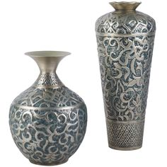Embossed Pewter Vases