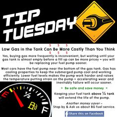Car Care Tip: Don't let the gas in your fuel tank run low. Save your fuel pump and money in the long run.  Keep your tank above 1/4 full. Auto Repair at Automotive Service Garage of Sarasota, FL   http://www.srqautorepair.com/