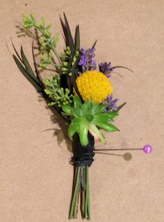 Lavender with succulent and agonis. @ Lucy's Informal Flowers.