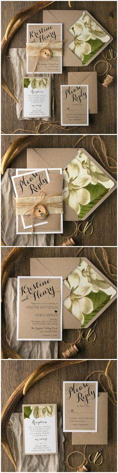 Faire-part de mariage sur un thème nature, champêtre dans les tons de beige-brun (papier kraft), vert et jaune doux