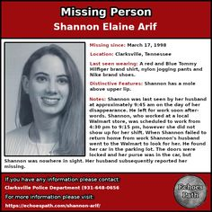Shannon #disappeared from #Clarksville, #Tennessee in #1998. Her car was found in the #Walmart parking lot where she worked.  #Missing #MissingPerson #Crime #TrueCrime #TrueCrimeCommunity #PodernFamily #Unsolved #UnsolvedMysteries #Mystery #ColdCase #EchoesPath Missing Loved Ones, Missing Child, Missing Persons, Clarksville Tennessee, Criminology, Cold Case, Upper Lip, Parking Lot, True Crime