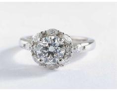 1.2 Carat Diamond Monique Lhuillier Wreath Halo Diamond Engagement Ring | Blue Nile