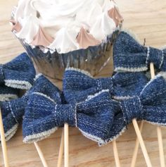 Denim Bows Cupcake Toppers Cupcake Pick Denim by ThePartyApple
