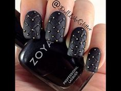 In this tutorial I will teach you how to create a studded quilted leather high fashion nail design.  This design was inspired by Michael Kors black quilted studded hamilton bag.    Products used:  Zoya Raven  Butter London Matte Top Coat  Glisten and Glow HK Girl Top Coat    Find more of my nail art and tutorials on  My Blog: http://dulllikeglitter.blog...