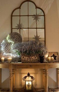 Hall console table I styled for Christmas in a country house in Oxfordshire www.aji.co.uk