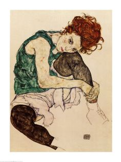 "Finding love in this soft colour scheme ""The Artist's Wife"" by Egon Schiele. :art.com"