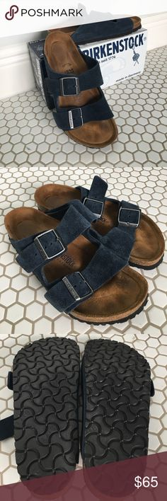 Birkenstock Arizona Denim Navy 37 Like new Birkenstocks Arizona style. Suede, Soft footbed, Denim Navy. Worn less than five time. Size 37. Bundle discounts available. Birkenstock Shoes