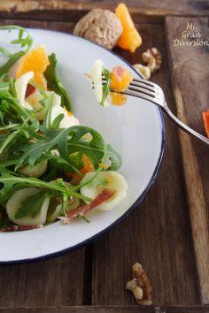 Ensalada de mandarina, rúcula y orecchiette. Del blog @MiGrandiversion  deliciosa seguro !! mirar que pinta !!