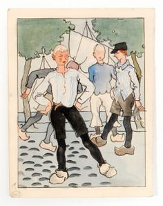 ALBERT WAINWRIGHT - A small pen, ink and water colour wash study depicting a group of boys in Dutch style. Henry Moore, Wakefield, Leeds, Small Pen, This Book, Watercolor, Ink, Antiques, Gallery