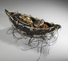 FULL BOAT: ARTIST: Shannon Weber, Oregon encaustic, woven, stitched willow, paper, kelp,