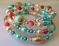 Artful Evidence: Aqua & Coral Memory Wire Bracelet