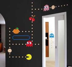 """Fun """"old school"""" video game theme for a media room or boy's bedroom."""