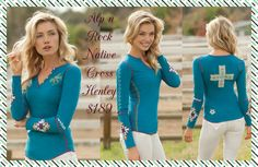 Alp n Rock Native Cross Henley in Iced Teal: Conjure up the spirits and your inner mystic with the rich turquoise hue and Navajo inspired details of this gorgeous henley. Available size 2-3