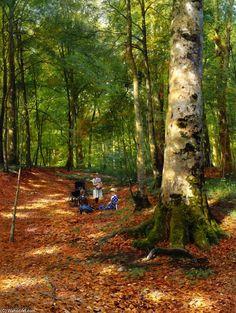 The Woodland Glade, Oil On Canvas by Peder Mork Monsted (1859-1941, Denmark)