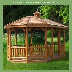 Cedar Oval Log Gazebo: A canopy of stars, a roaring fire, and the awe-inspiring grandeur of nature – capture these feelings as you while away in our Amish Wooden Gazebo. Big as the great outdoors, this genuine wooden gazebo. Backyard Pavilion, Garden Gazebo, Backyard Retreat, Backyard Patio, Patio Gazebo, Screened Gazebo, Terrace Garden, Diy Pergola, Modern Pergola