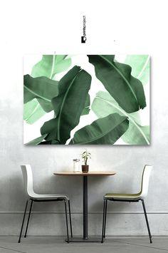 Tropical Print Palm Leaf Print Banana Leaf Print by PrintsProject Large Wall Prints, Leaf Prints, Boho Bedroom Decor, Extra Large Wall Art, Palm Print, Showcase Design, Green Leaves, Greenery, Fonts