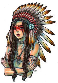 Risultato immagini per native american girl drawing Native American Drawing, Native American Face Paint, Native American Girls, Tattoo Indien, Estilo Tribal, Native Tattoos, American Indian Tattoos, Tattoo Girls, Girl Tattoos
