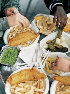 Fish and chips with smashed peas