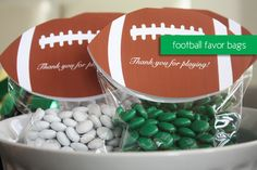 Football Party Favors and Free Printable Football Closures - Superbowl Party Ideas
