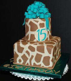 Giraffe Print Birthday Cake by cjmjcrlm (Rebecca), via Flickr