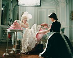 "Photo of Kirsten behind the scenes of ""Marie Antoinette"" for fans of Kirsten Dunst."